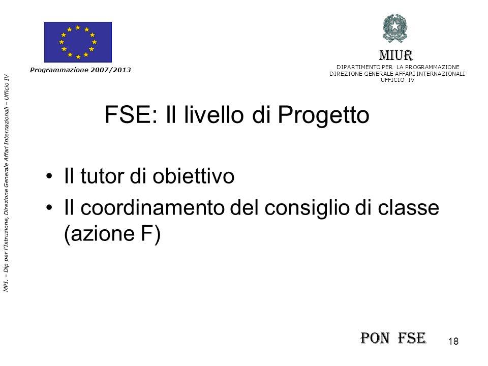 18 MPI. – Dip per lIstruzione, Direzione Generale Affari Internazionali – Ufficio IV Programmazione 2007/2013 FSE: Il livello di Progetto Il tutor di
