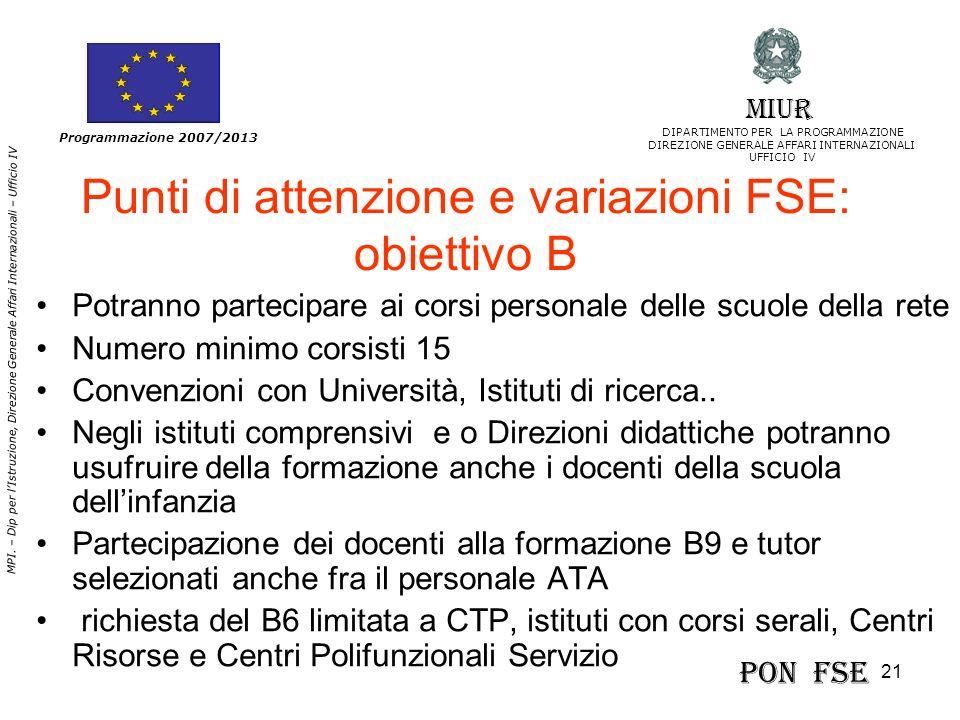 21 MPI. – Dip per lIstruzione, Direzione Generale Affari Internazionali – Ufficio IV Programmazione 2007/2013 Punti di attenzione e variazioni FSE: ob