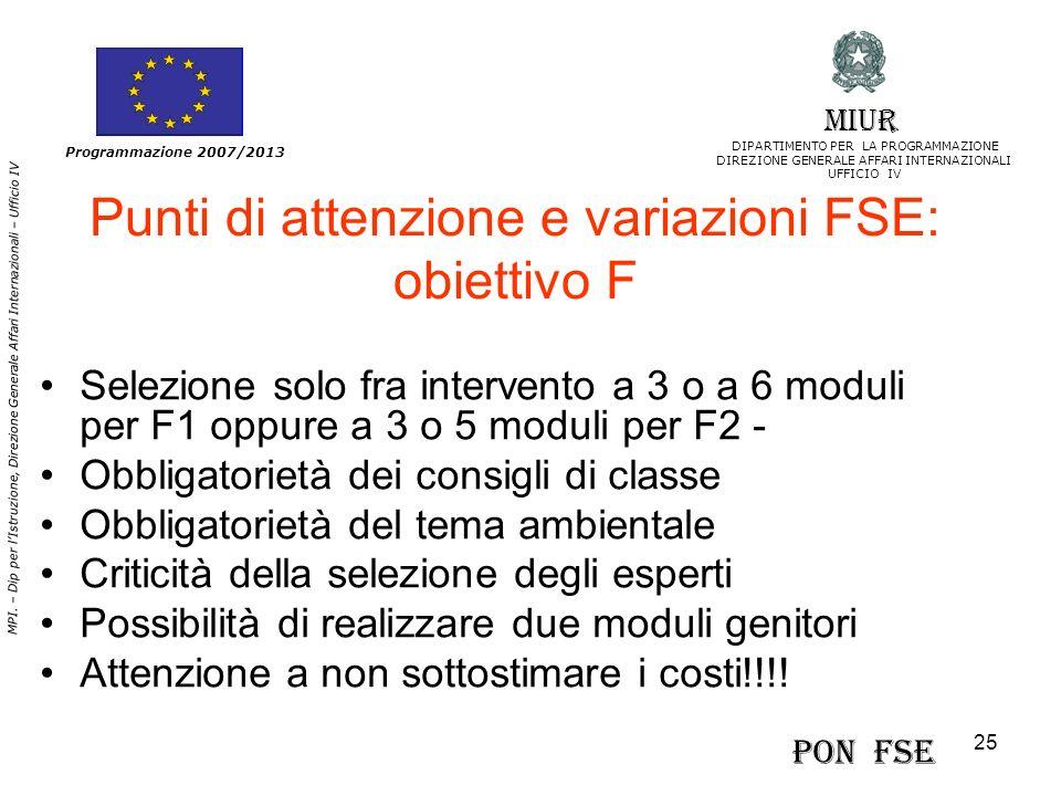 25 MPI. – Dip per lIstruzione, Direzione Generale Affari Internazionali – Ufficio IV Programmazione 2007/2013 Punti di attenzione e variazioni FSE: ob