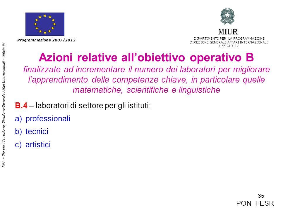 35 MPI. – Dip per lIstruzione, Direzione Generale Affari Internazionali – Ufficio IV Programmazione 2007/2013 Azioni relative allobiettivo operativo B