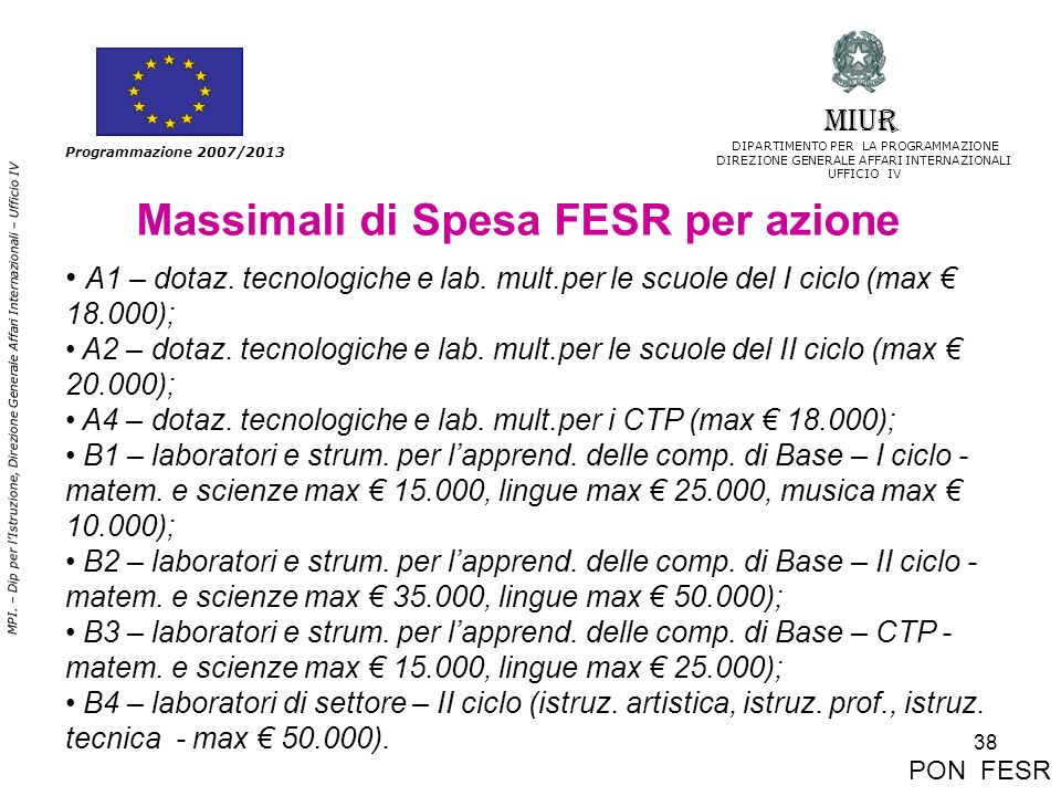 38 MPI. – Dip per lIstruzione, Direzione Generale Affari Internazionali – Ufficio IV Programmazione 2007/2013 Massimali di Spesa FESR per azione A1 –