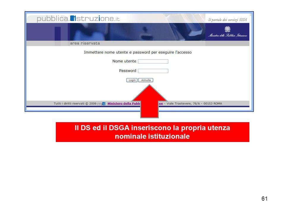 61 Il DS ed il DSGA inseriscono la propria utenza nominale istituzionale