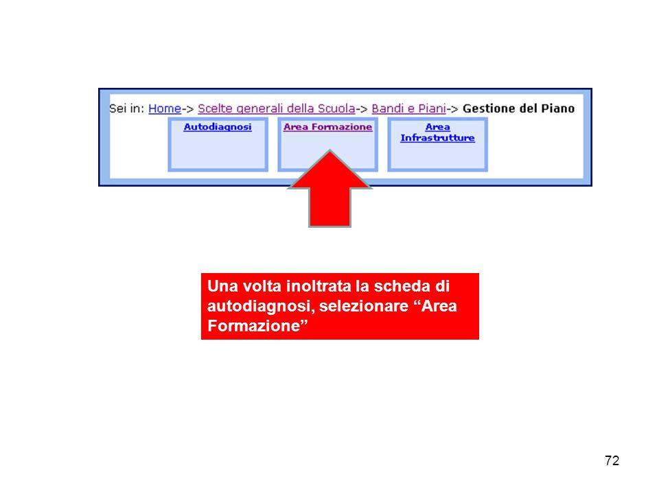 72 Una volta inoltrata la scheda di autodiagnosi, selezionare Area Formazione