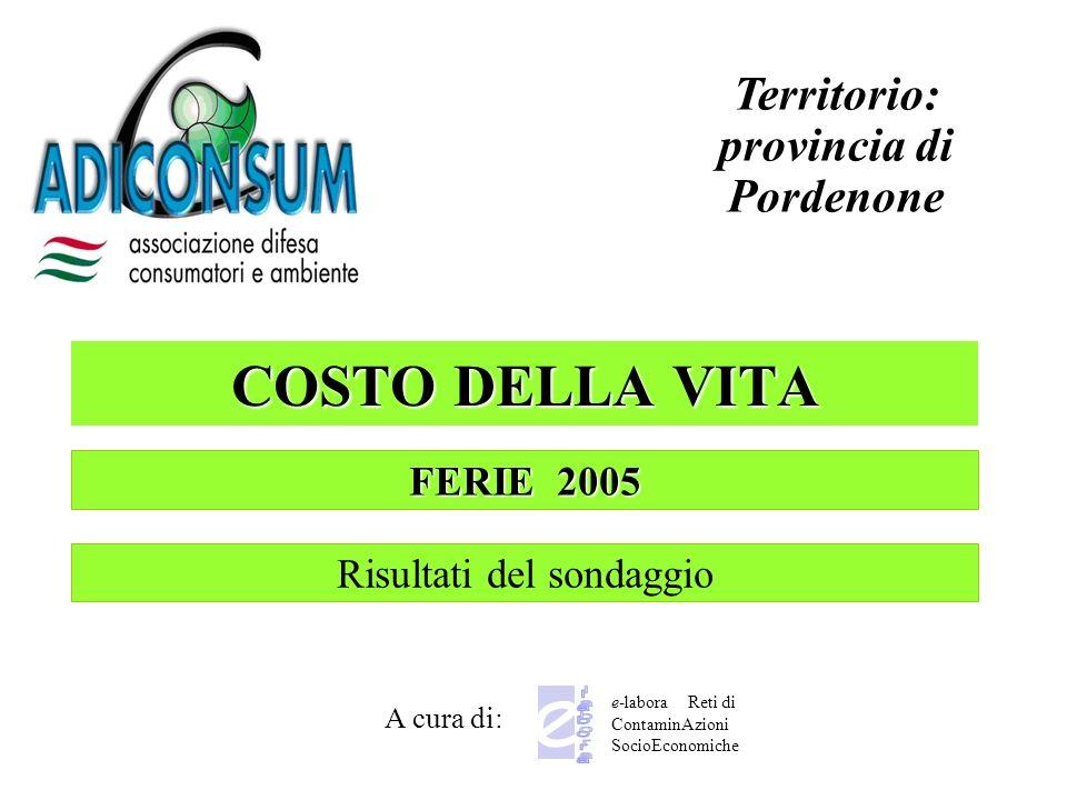 COSTO DELLA VITA A cura di: Territorio: provincia di Pordenone e-labora Reti di ContaminAzioni SocioEconomiche FERIE 2005 Risultati del sondaggio