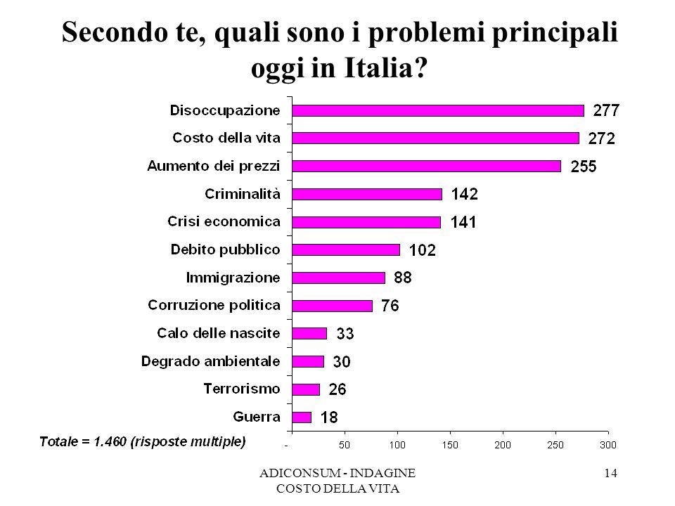 ADICONSUM - INDAGINE COSTO DELLA VITA 14 Secondo te, quali sono i problemi principali oggi in Italia?