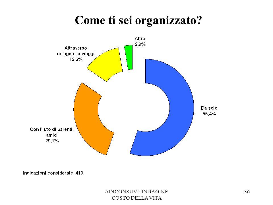 ADICONSUM - INDAGINE COSTO DELLA VITA 36 Come ti sei organizzato?
