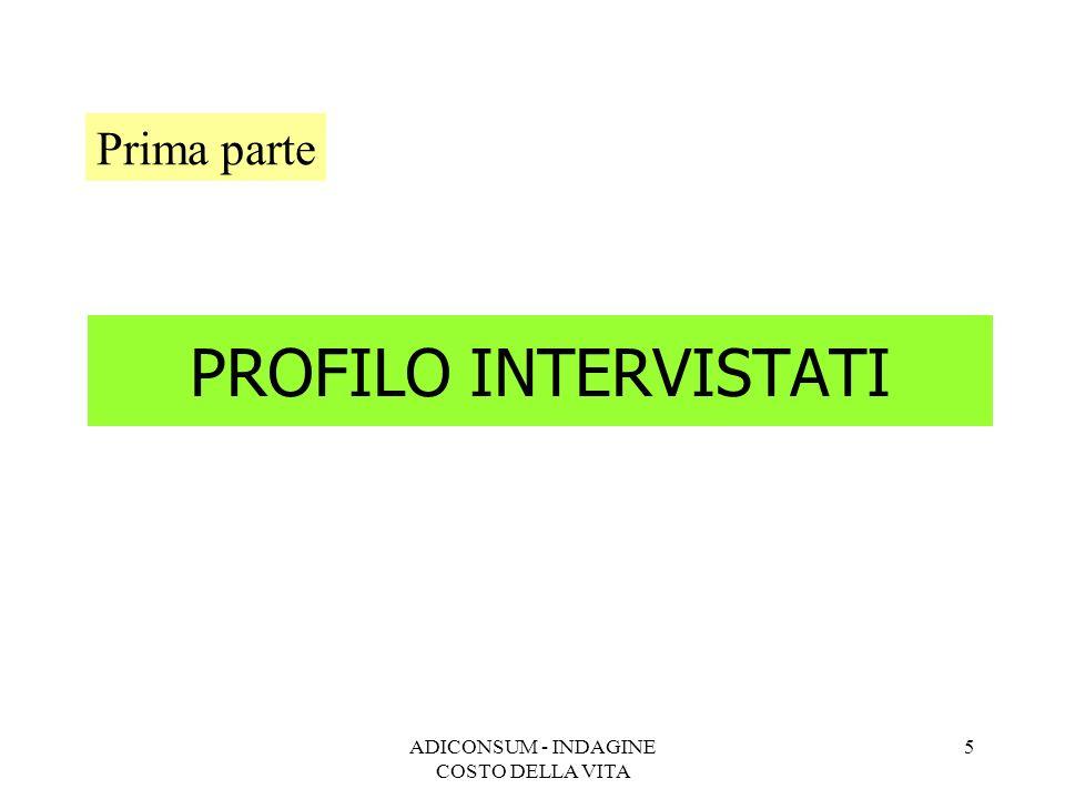 ADICONSUM - INDAGINE COSTO DELLA VITA 5 PROFILO INTERVISTATI Prima parte