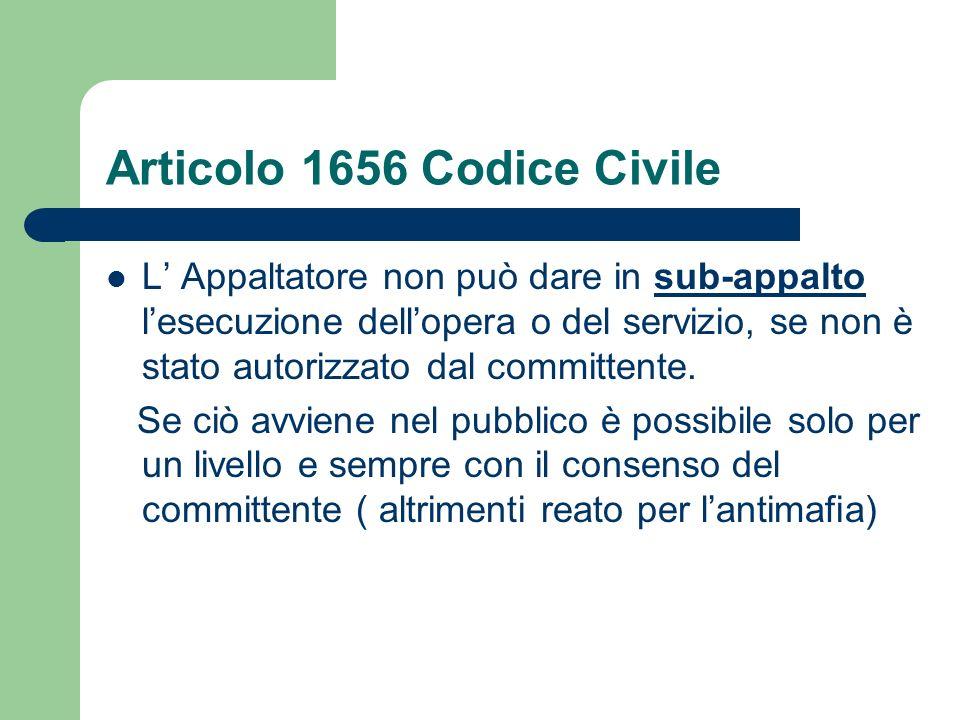 Articolo 1656 Codice Civile L Appaltatore non può dare in sub-appalto lesecuzione dellopera o del servizio, se non è stato autorizzato dal committente