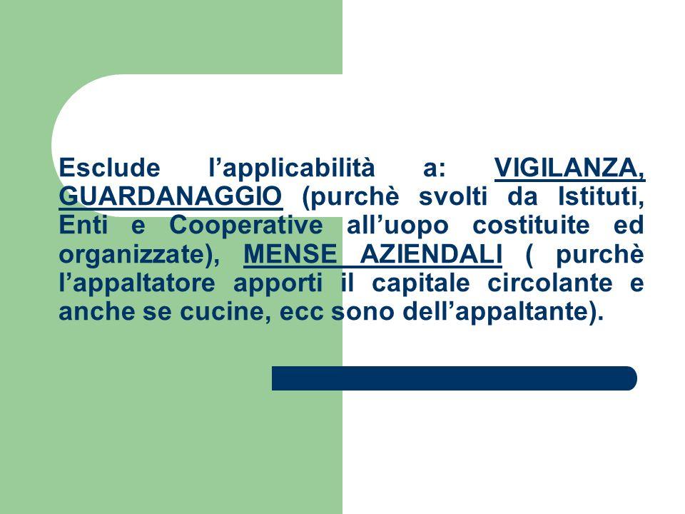 Esclude lapplicabilità a: VIGILANZA, GUARDANAGGIO (purchè svolti da Istituti, Enti e Cooperative alluopo costituite ed organizzate), MENSE AZIENDALI (