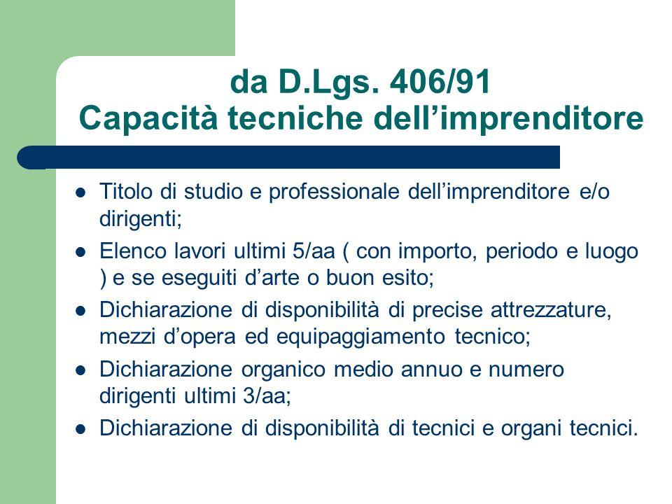 da D.Lgs. 406/91 Capacità tecniche dellimprenditore Titolo di studio e professionale dellimprenditore e/o dirigenti; Elenco lavori ultimi 5/aa ( con i