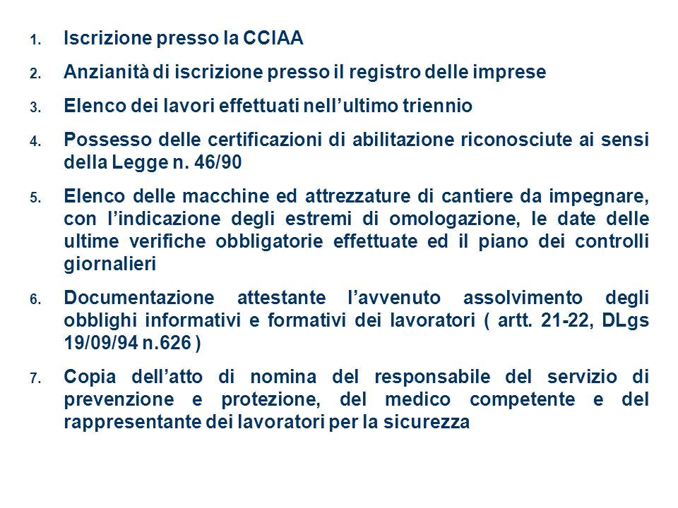 1. Iscrizione presso la CCIAA 2. Anzianità di iscrizione presso il registro delle imprese 3. Elenco dei lavori effettuati nellultimo triennio 4. Posse