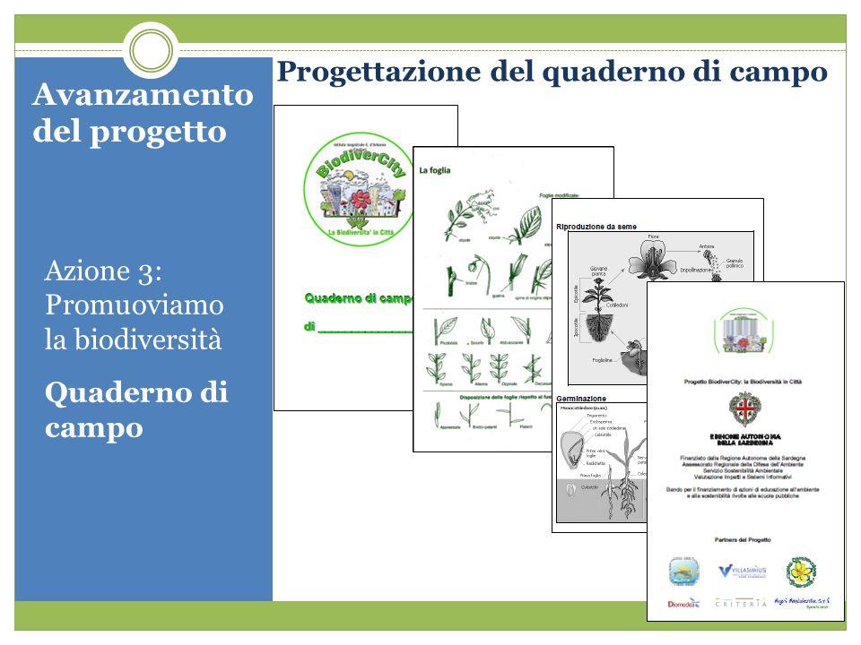 Avanzamento del progetto Progettazione del quaderno di campo Azione 3: Promuoviamo la biodiversità Quaderno di campo