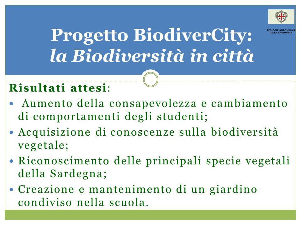 Risultati attesi: Aumento della consapevolezza e cambiamento di comportamenti degli studenti; Acquisizione di conoscenze sulla biodiversità vegetale;