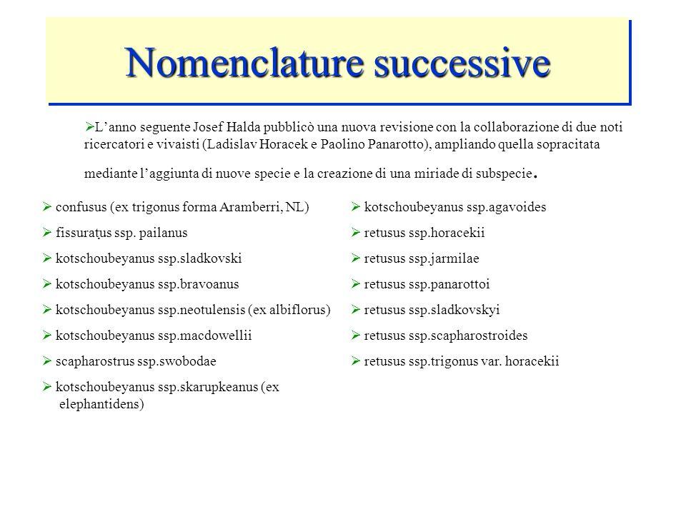 Nomenclature successive Lanno seguente Josef Halda pubblicò una nuova revisione con la collaborazione di due noti ricercatori e vivaisti (Ladislav Hor