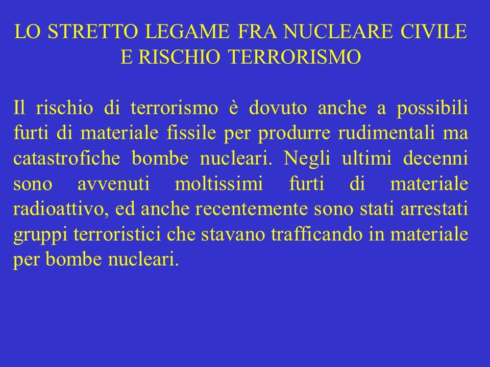 LO STRETTO LEGAME FRA NUCLEARE CIVILE E RISCHIO TERRORISMO Il rischio di terrorismo è dovuto anche a possibili furti di materiale fissile per produrre