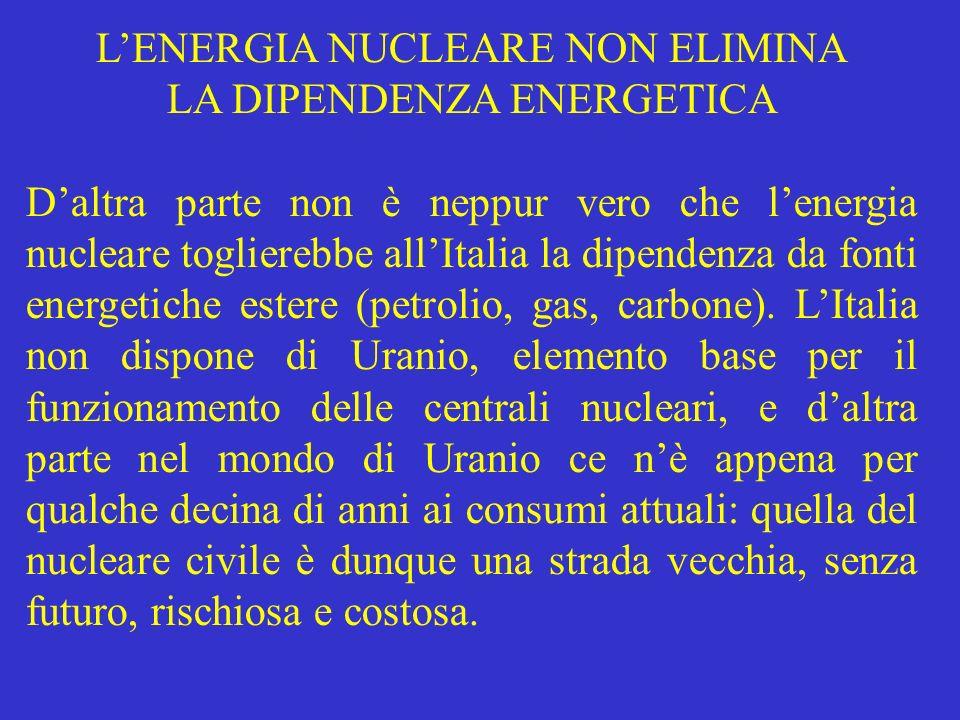 LENERGIA NUCLEARE NON ELIMINA LA DIPENDENZA ENERGETICA Daltra parte non è neppur vero che lenergia nucleare toglierebbe allItalia la dipendenza da fon