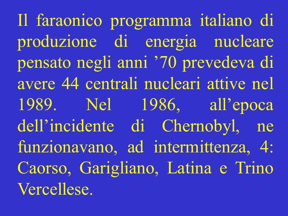 Il faraonico programma italiano di produzione di energia nucleare pensato negli anni 70 prevedeva di avere 44 centrali nucleari attive nel 1989. Nel 1