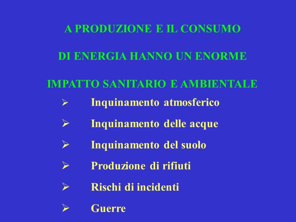 L A PRODUZIONE E IL CONSUMO DI ENERGIA HANNO UN ENORME IMPATTO SANITARIO E AMBIENTALE Inquinamento atmosferico Inquinamento delle acque Inquinamento d
