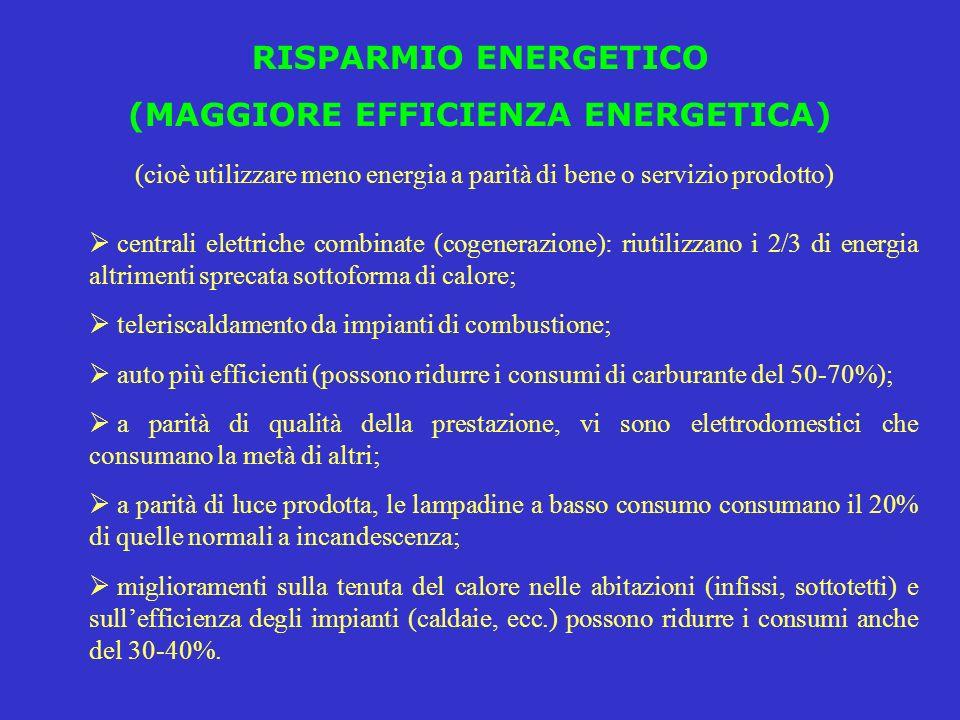RISPARMIO ENERGETICO (MAGGIORE EFFICIENZA ENERGETICA) (cioè utilizzare meno energia a parità di bene o servizio prodotto) centrali elettriche combinat