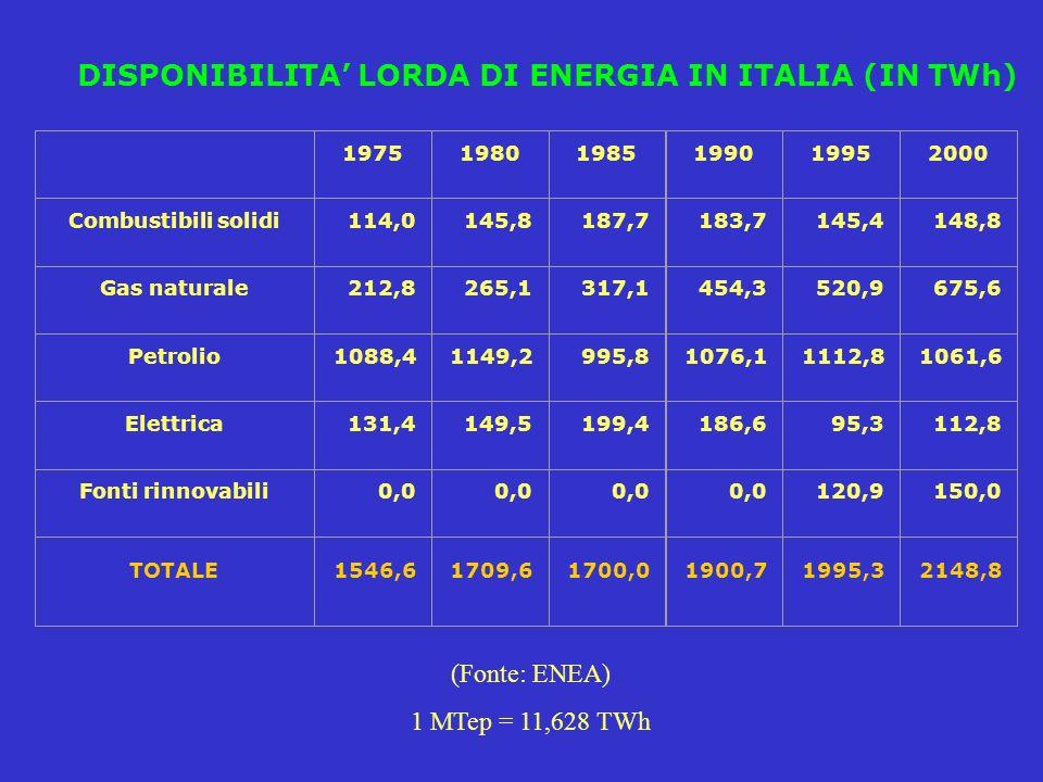 DISPONIBILITA LORDA DI ENERGIA IN ITALIA (IN TWh) 197519801985199019952000 Combustibili solidi114,0145,8187,7183,7145,4148,8 Gas naturale212,8265,1317