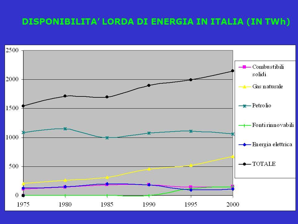 DISPONIBILITA LORDA DI ENERGIA IN ITALIA (IN TWh)