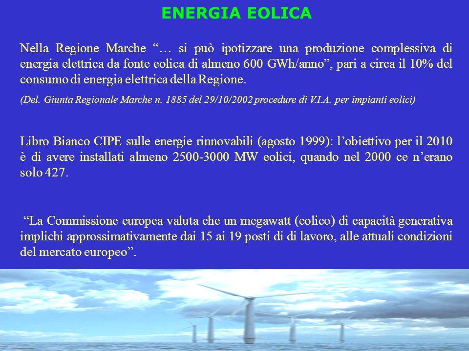ENERGIA EOLICA Nella Regione Marche … si può ipotizzare una produzione complessiva di energia elettrica da fonte eolica di almeno 600 GWh/anno, pari a