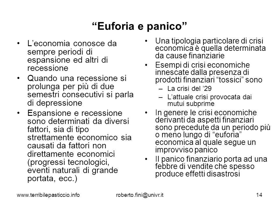 www.terribilepasticcio.inforoberto.fini@univr.it14 Euforia e panico Leconomia conosce da sempre periodi di espansione ed altri di recessione Quando un