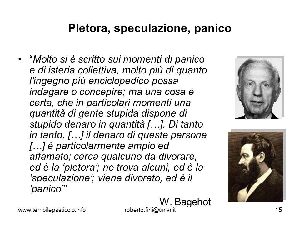 www.terribilepasticcio.inforoberto.fini@univr.it15 Pletora, speculazione, panico Molto si è scritto sui momenti di panico e di isteria collettiva, mol