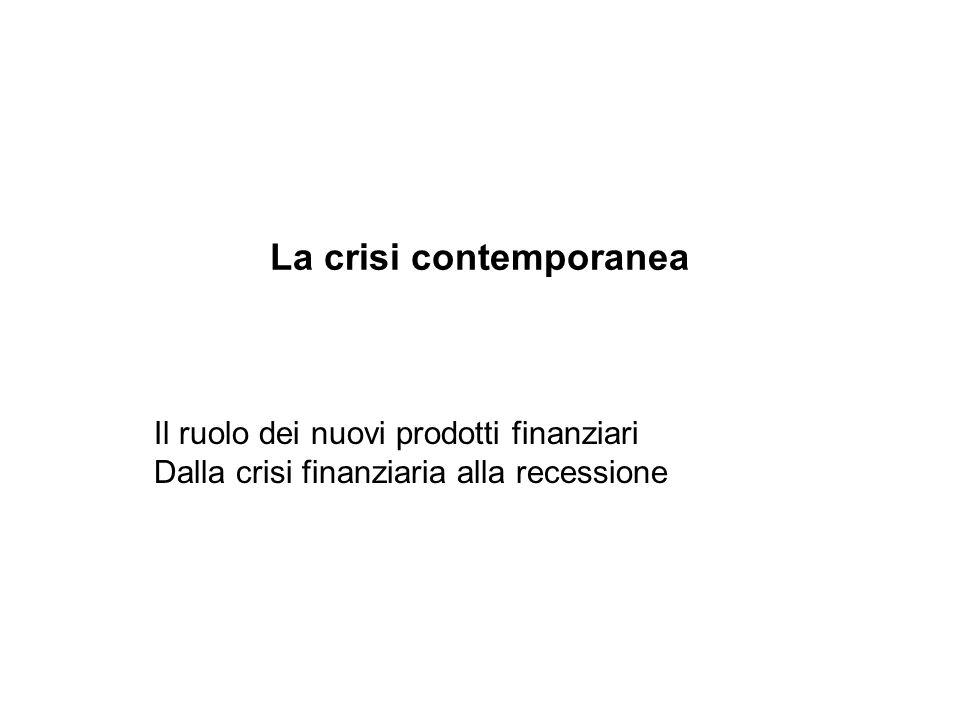La crisi contemporanea Il ruolo dei nuovi prodotti finanziari Dalla crisi finanziaria alla recessione