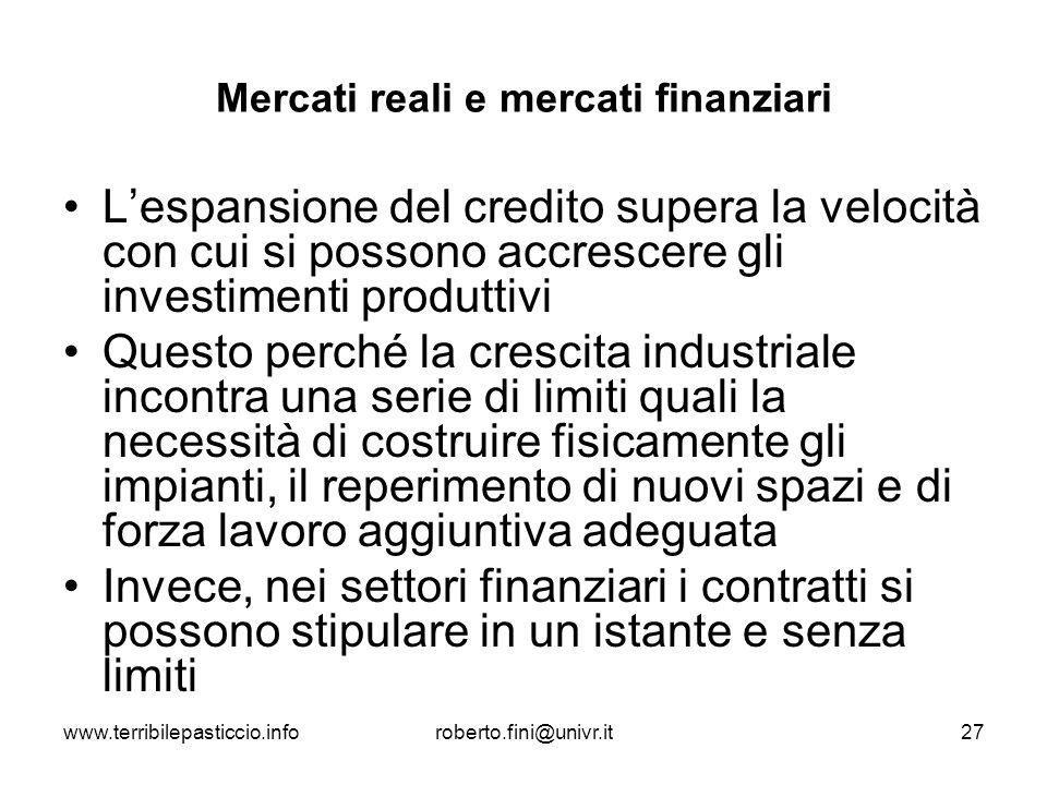 www.terribilepasticcio.inforoberto.fini@univr.it27 Mercati reali e mercati finanziari Lespansione del credito supera la velocità con cui si possono ac