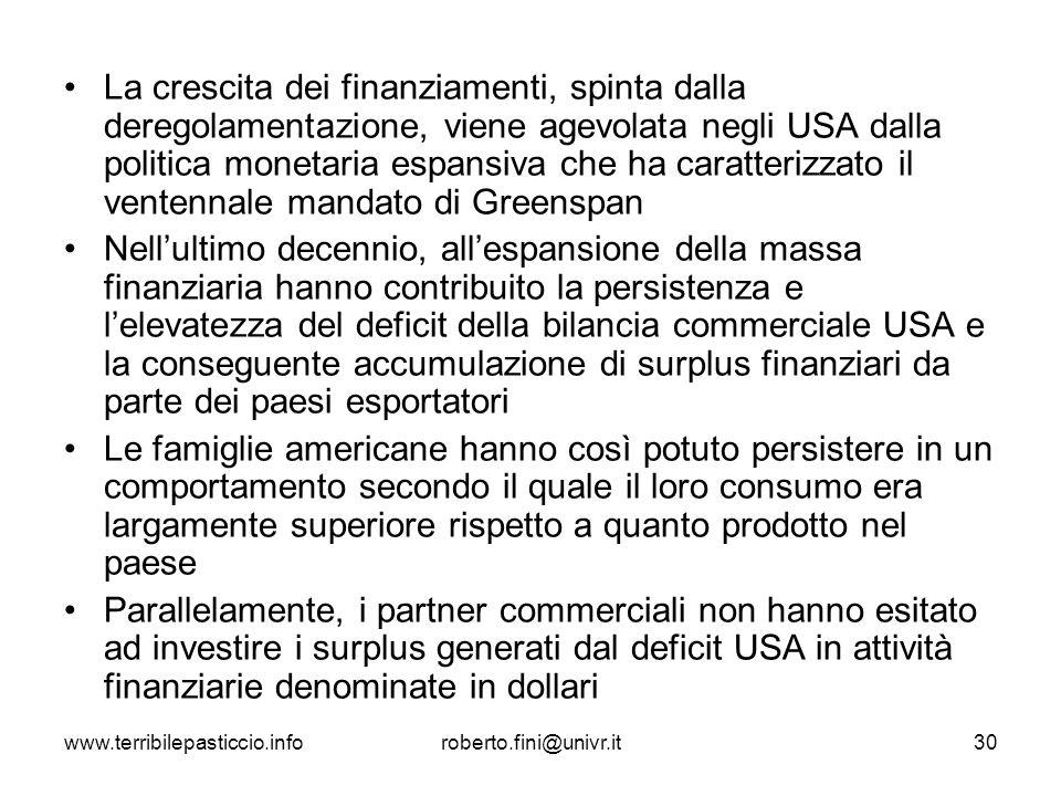www.terribilepasticcio.inforoberto.fini@univr.it30 La crescita dei finanziamenti, spinta dalla deregolamentazione, viene agevolata negli USA dalla pol