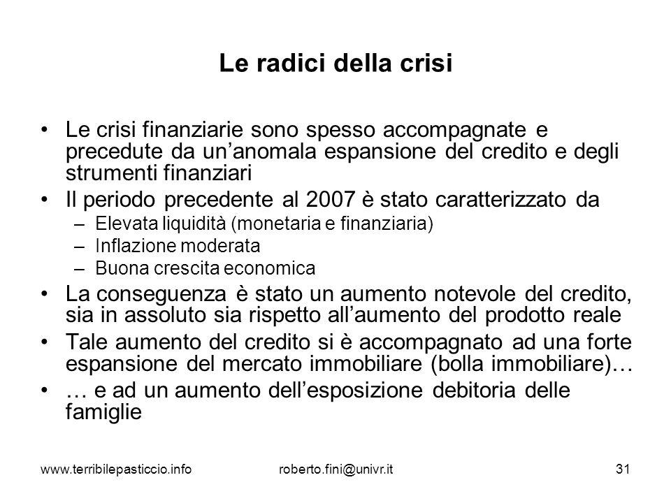 www.terribilepasticcio.inforoberto.fini@univr.it31 Le radici della crisi Le crisi finanziarie sono spesso accompagnate e precedute da unanomala espans