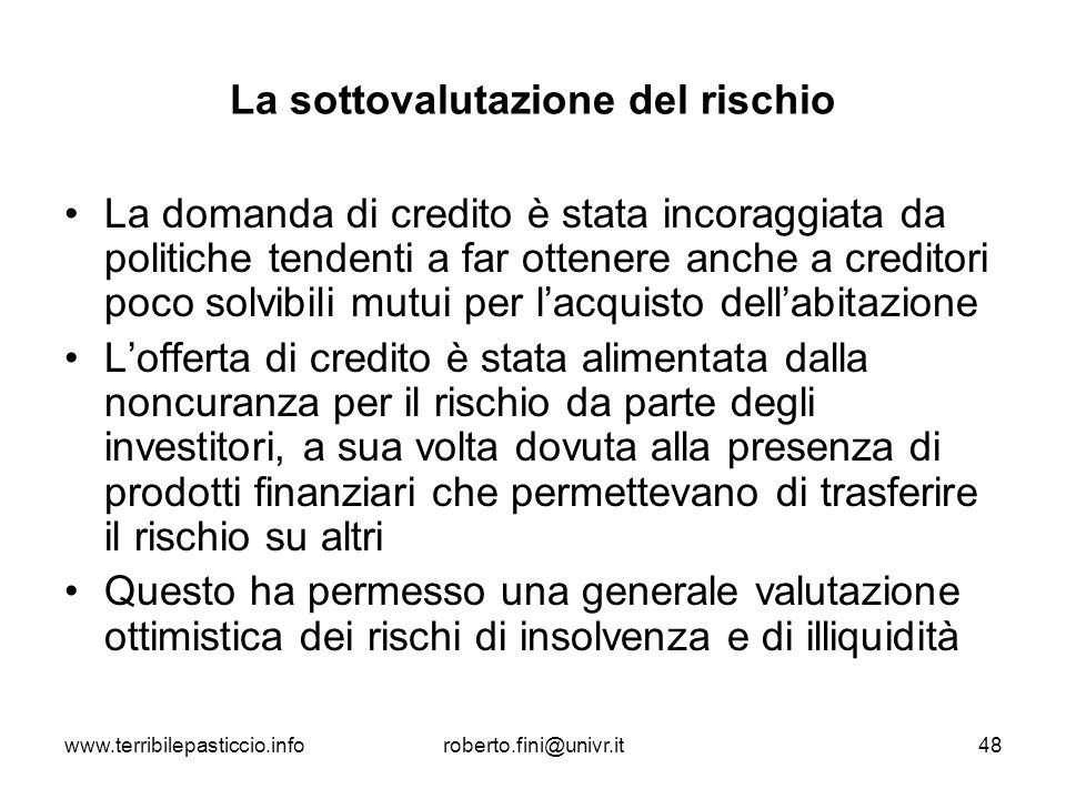 www.terribilepasticcio.inforoberto.fini@univr.it48 La sottovalutazione del rischio La domanda di credito è stata incoraggiata da politiche tendenti a