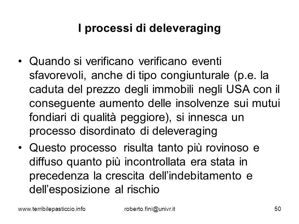 www.terribilepasticcio.inforoberto.fini@univr.it50 I processi di deleveraging Quando si verificano verificano eventi sfavorevoli, anche di tipo congiu