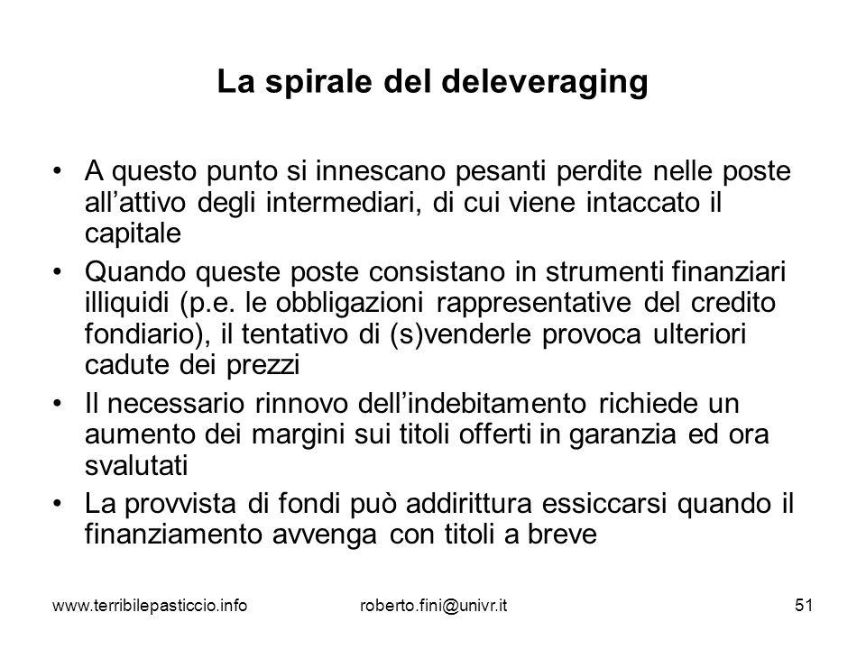 www.terribilepasticcio.inforoberto.fini@univr.it51 La spirale del deleveraging A questo punto si innescano pesanti perdite nelle poste allattivo degli