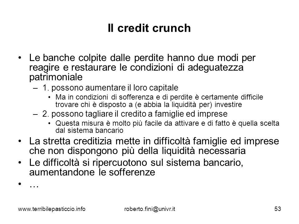 www.terribilepasticcio.inforoberto.fini@univr.it53 Il credit crunch Le banche colpite dalle perdite hanno due modi per reagire e restaurare le condizi