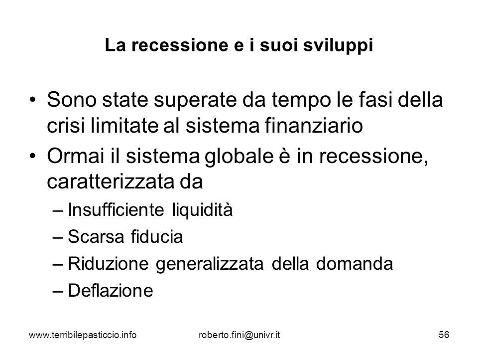 www.terribilepasticcio.inforoberto.fini@univr.it56 La recessione e i suoi sviluppi Sono state superate da tempo le fasi della crisi limitate al sistem