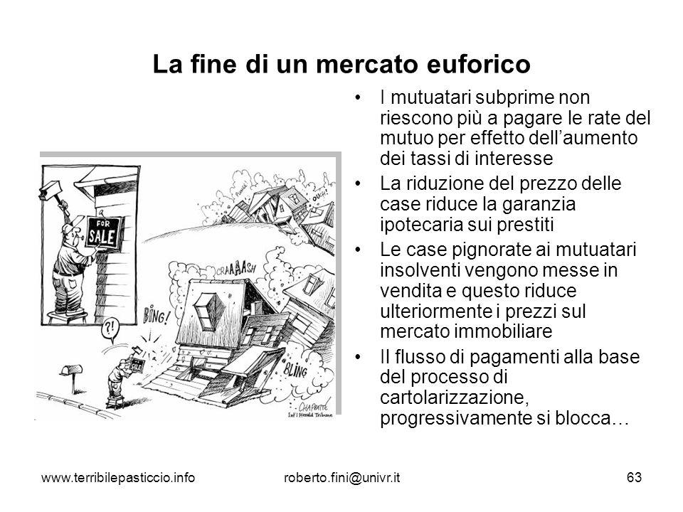 www.terribilepasticcio.inforoberto.fini@univr.it63 La fine di un mercato euforico I mutuatari subprime non riescono più a pagare le rate del mutuo per
