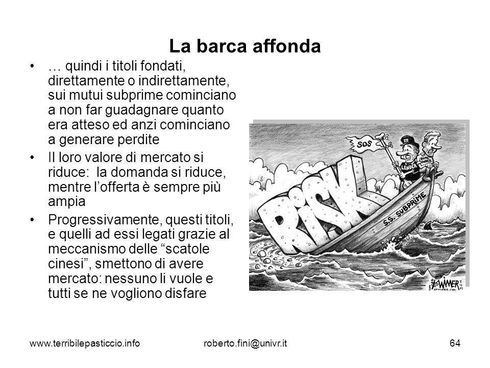 www.terribilepasticcio.inforoberto.fini@univr.it64 La barca affonda … quindi i titoli fondati, direttamente o indirettamente, sui mutui subprime comin