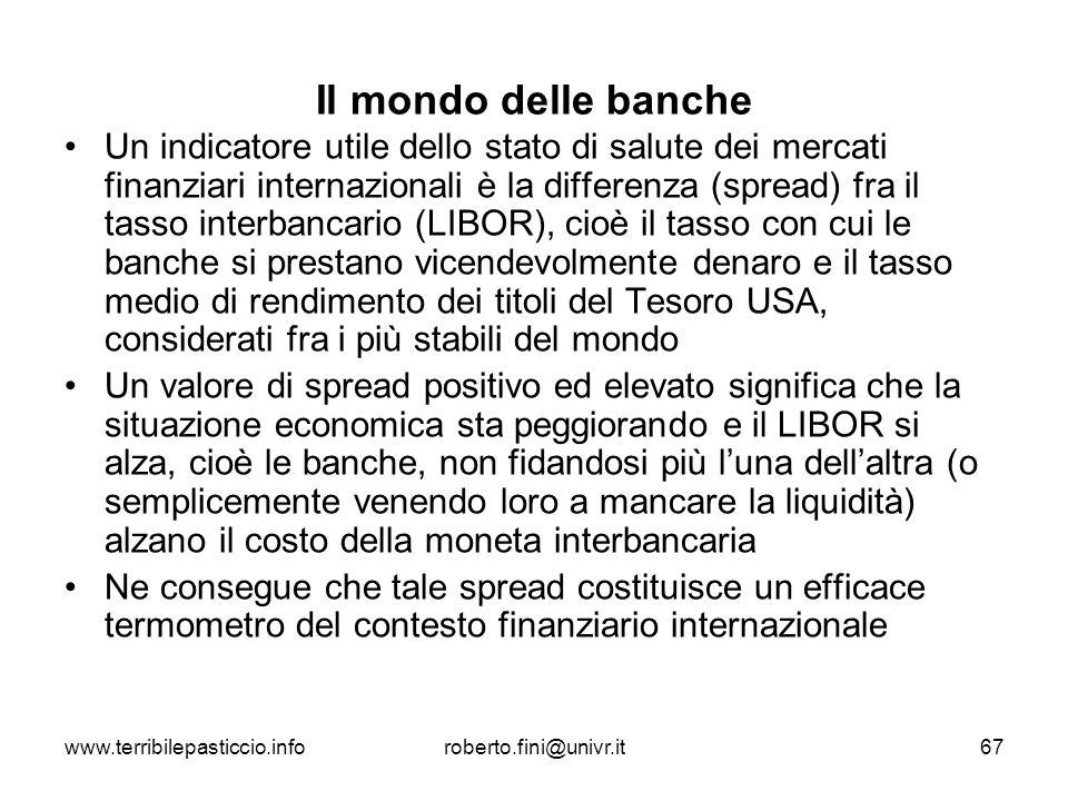 www.terribilepasticcio.inforoberto.fini@univr.it67 Il mondo delle banche Un indicatore utile dello stato di salute dei mercati finanziari internaziona