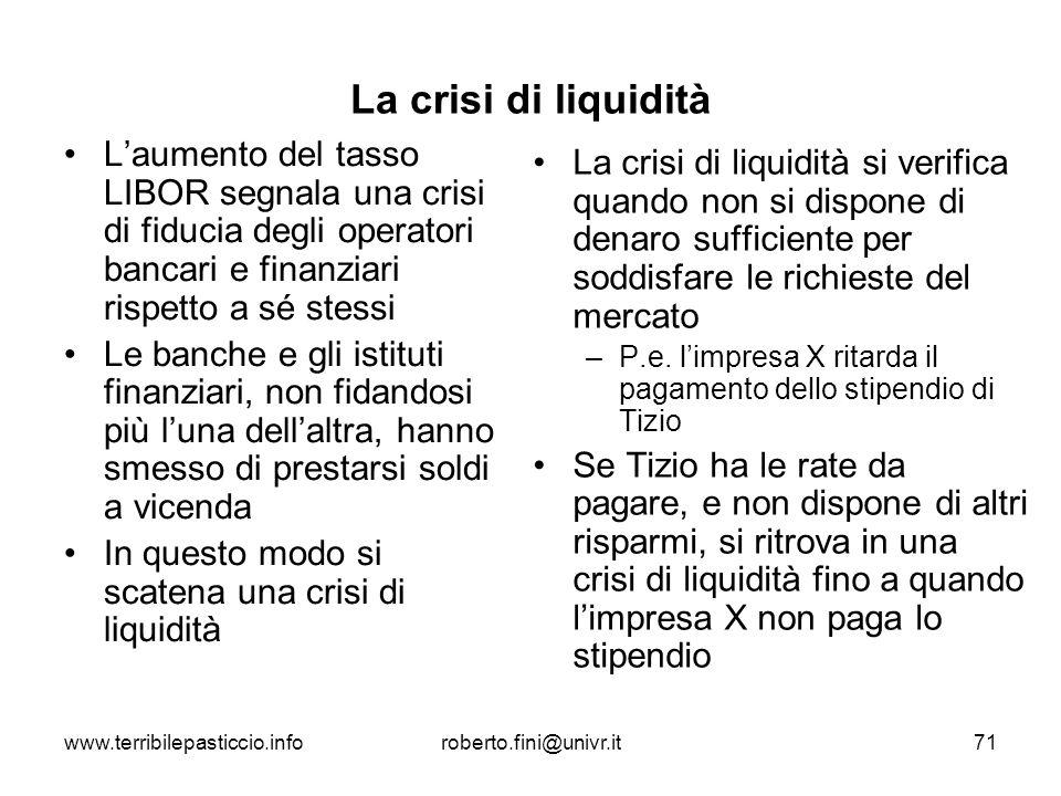 www.terribilepasticcio.inforoberto.fini@univr.it71 La crisi di liquidità Laumento del tasso LIBOR segnala una crisi di fiducia degli operatori bancari