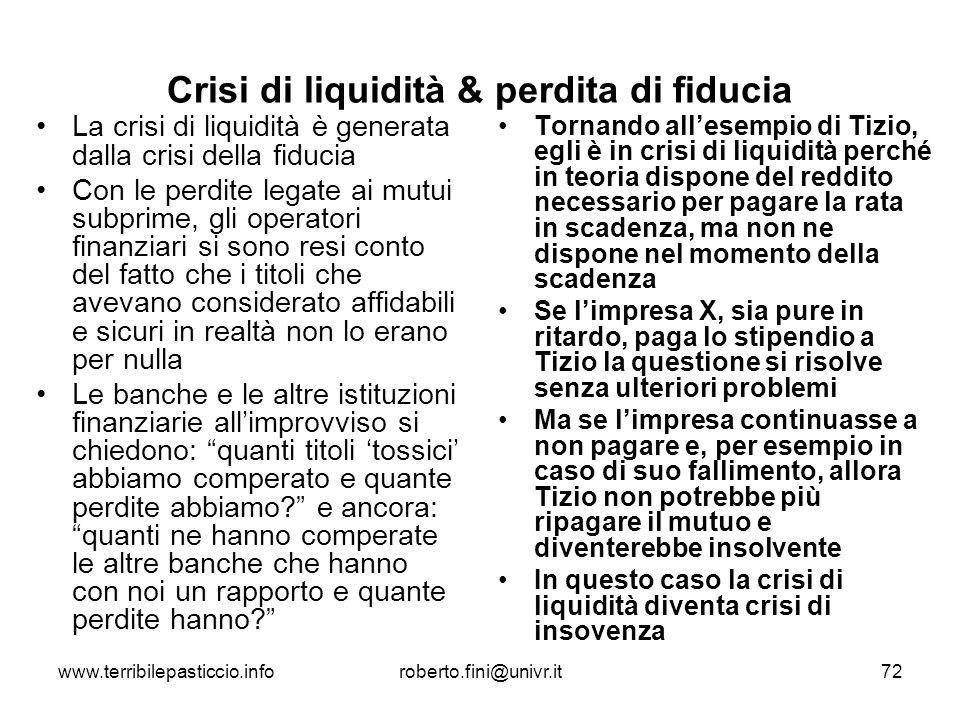 www.terribilepasticcio.inforoberto.fini@univr.it72 Crisi di liquidità & perdita di fiducia La crisi di liquidità è generata dalla crisi della fiducia