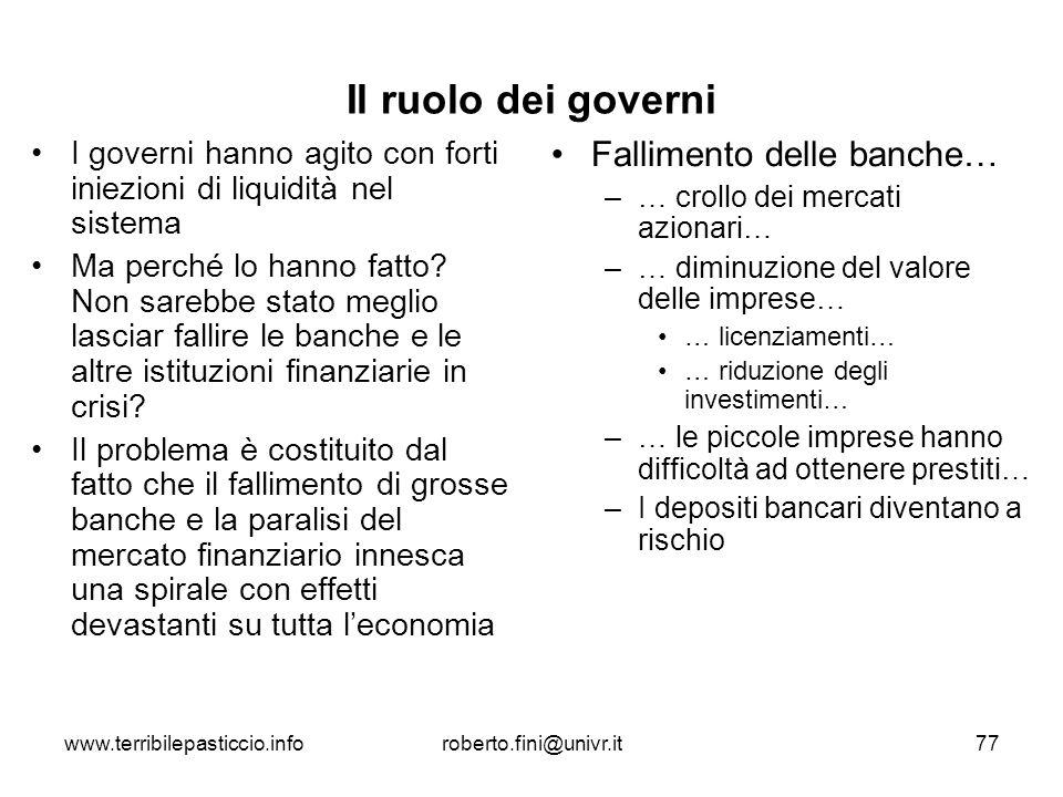 www.terribilepasticcio.inforoberto.fini@univr.it77 Il ruolo dei governi I governi hanno agito con forti iniezioni di liquidità nel sistema Ma perché l