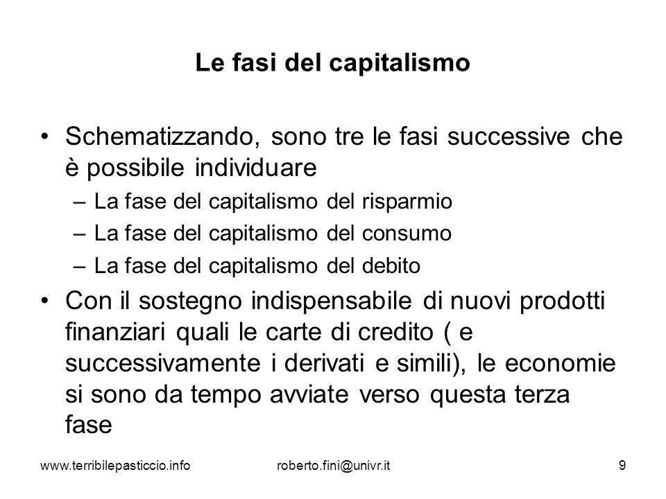 www.terribilepasticcio.inforoberto.fini@univr.it9 Le fasi del capitalismo Schematizzando, sono tre le fasi successive che è possibile individuare –La