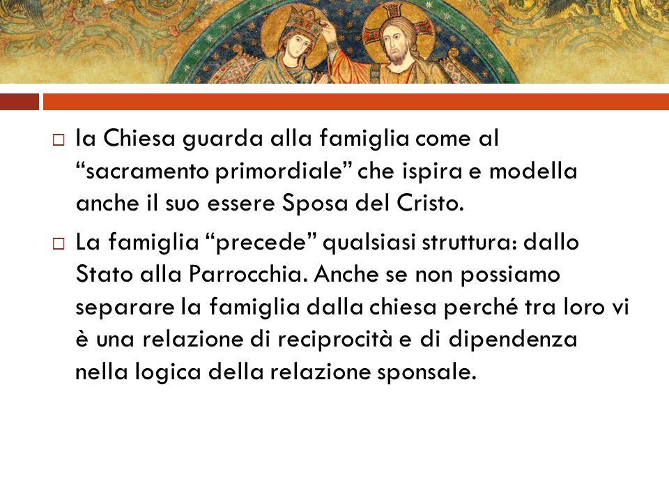 la Chiesa guarda alla famiglia come al sacramento primordiale che ispira e modella anche il suo essere Sposa del Cristo. La famiglia precede qualsiasi