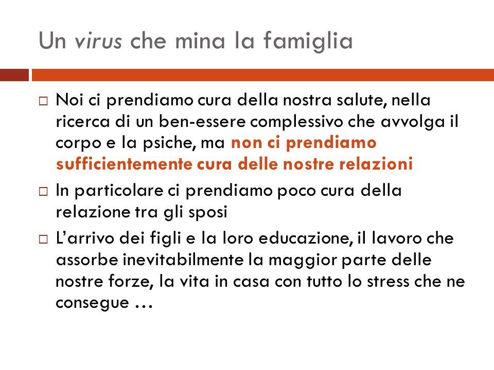 Un virus che mina la famiglia Noi ci prendiamo cura della nostra salute, nella ricerca di un ben-essere complessivo che avvolga il corpo e la psiche,