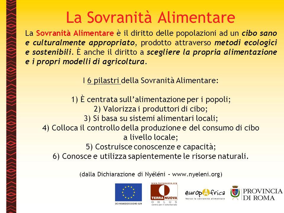 La Sovranità Alimentare La Sovranità Alimentare è il diritto delle popolazioni ad un cibo sano e culturalmente appropriato, prodotto attraverso metodi