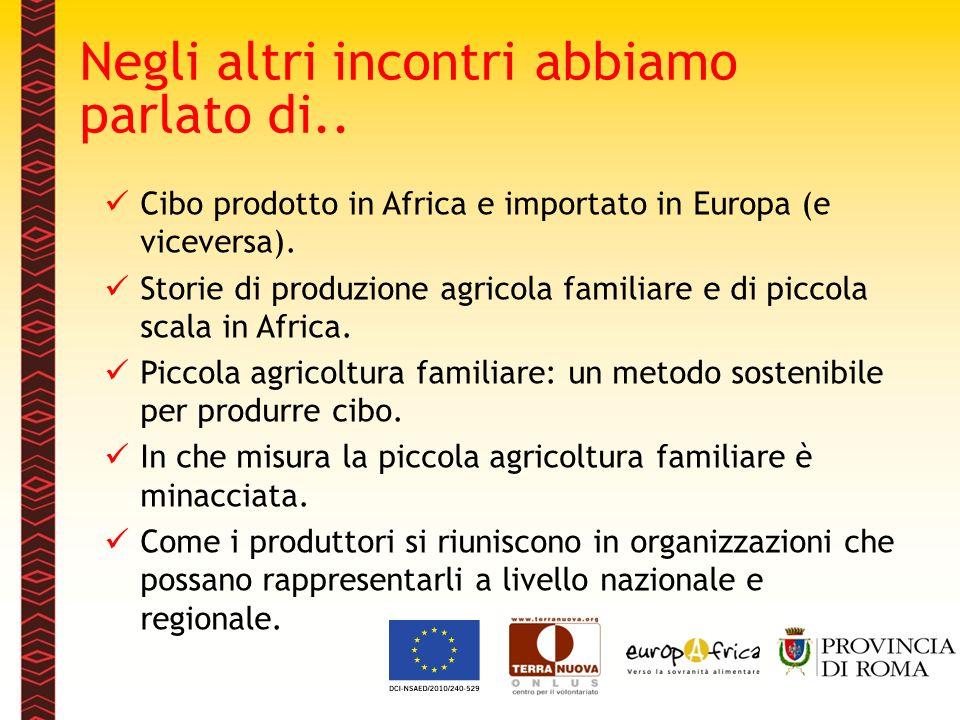 Negli altri incontri abbiamo parlato di.. Cibo prodotto in Africa e importato in Europa (e viceversa). Storie di produzione agricola familiare e di pi