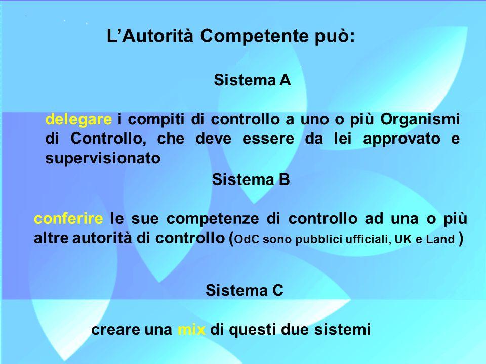 LAutorità Competente può: Sistema A delegare i compiti di controllo a uno o più Organismi di Controllo, che deve essere da lei approvato e supervision