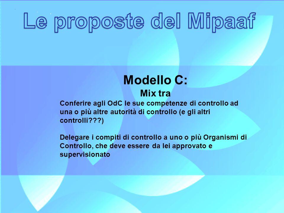 Modello C: Mix tra Conferire agli OdC le sue competenze di controllo ad una o più altre autorità di controllo (e gli altri controlli???) Delegare i co